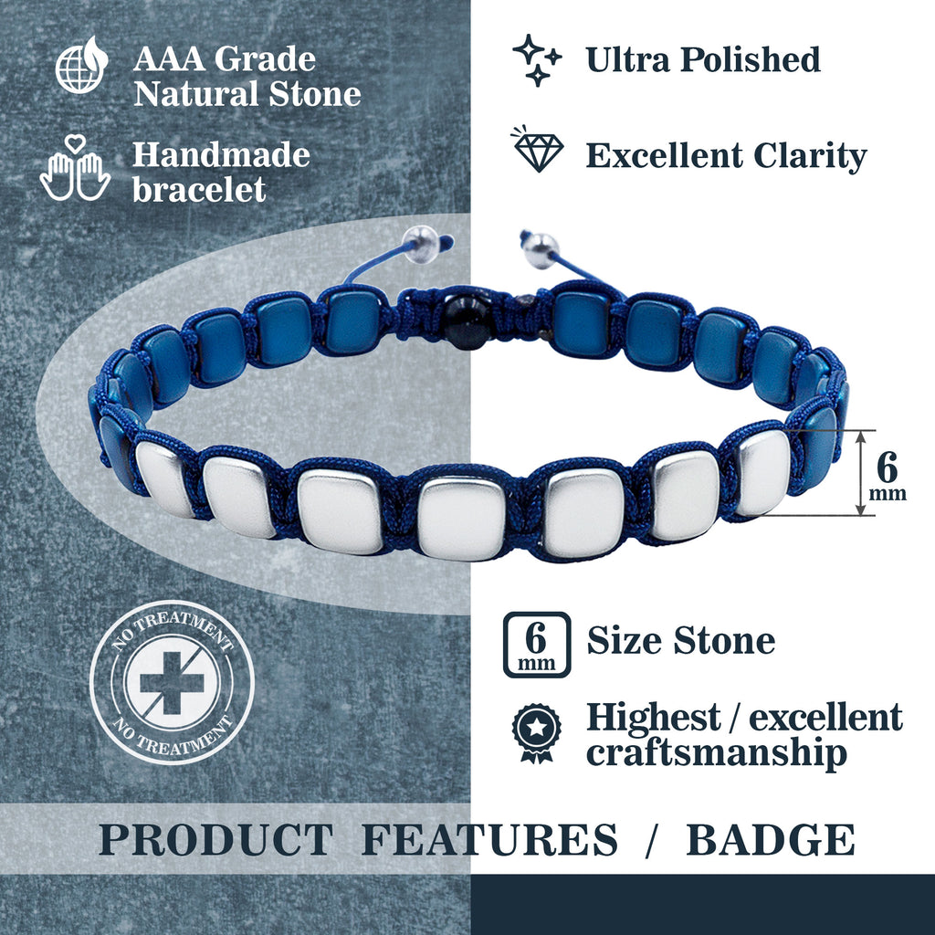 Hematite 8mm Magnetic Beaded Bracelet with Adjustable Rope - Square - Silver/Blue