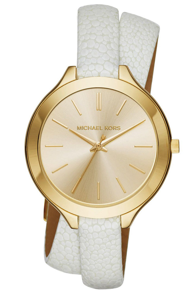 Michael Kors Women's Slim Runway Sunray Dial White Leather Double-Wrap Strap Watch 42mm MK2477