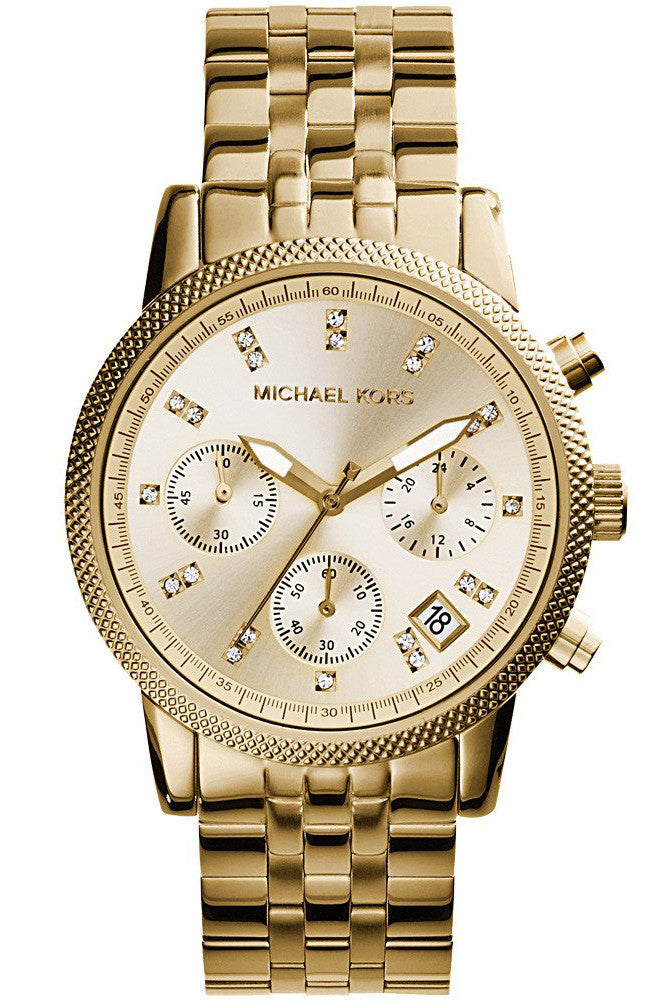 Michael Kors Women's Ritz Chronograph Gold-Tone SS Bracelet Watch 36mm MK5676
