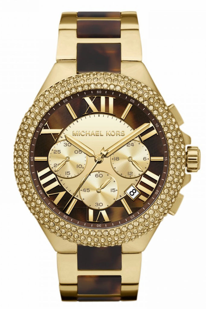 Michael Kors Women's Camille Chronograph Tortoise Gold-Tone SS Watch 43mm MK5901