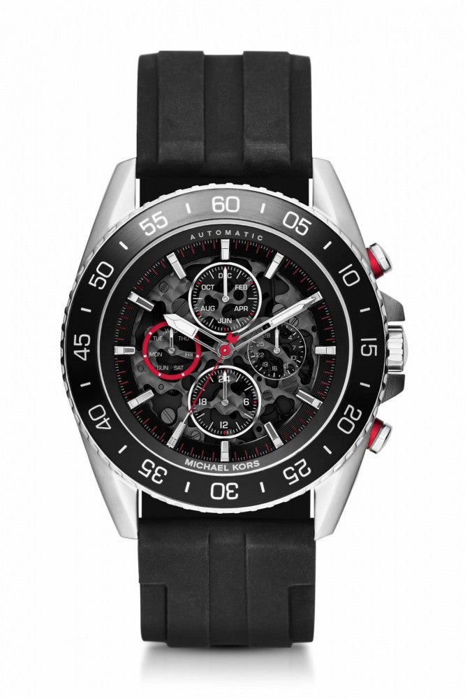 Michael Kors Men's JetMaster Automatic Chronograph Black Silicone Strap Watch 45mm MK9013