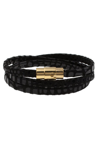 *Mister Trifecta Leather Bracelet - Reptile & Gold - Mister SFC