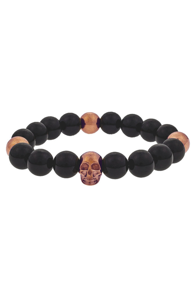 Mister Annum Plus Bead Bracelet - Onyx & Rose Gold