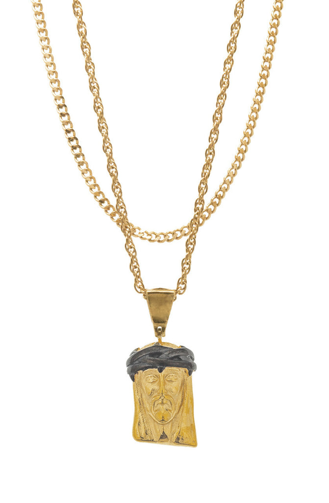Mister  2 Tone Jesus Piece Necklace - Gold & Black