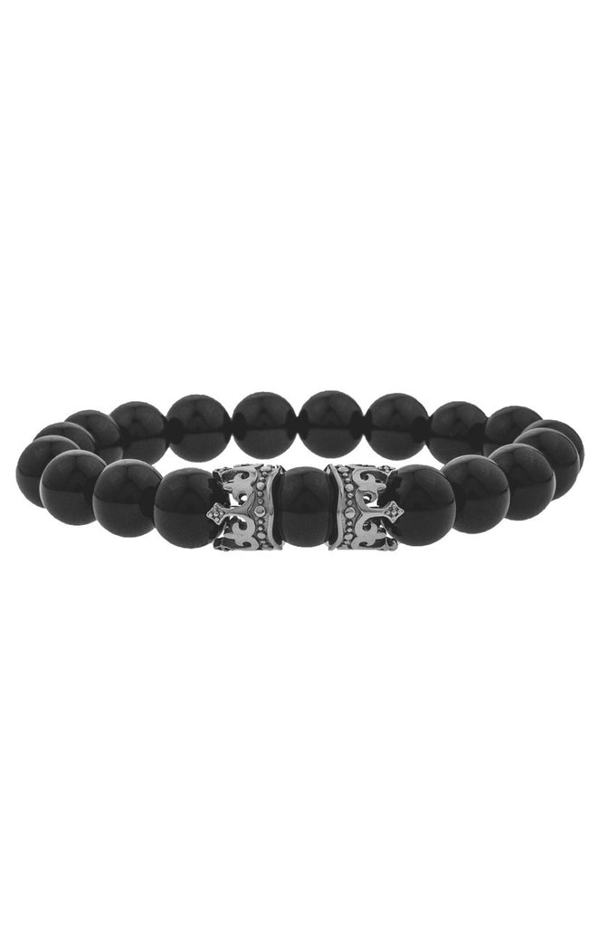 Mister King Bead Bracelet - Onyx & Chrome