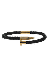 Mister Nail Leather Bracelet - Black & Gold