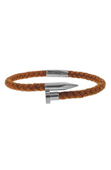 Mister Nail Leather Bracelet - Caramel & Chrome