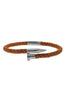 Image of Mister Nail Leather Bracelet - Caramel & Chrome