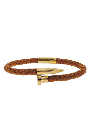 Mister Nail Leather Bracelet - Caramel & Gold