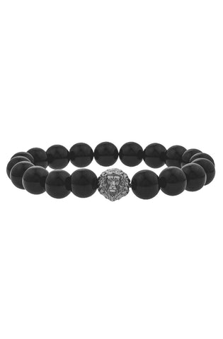 Mister Lion Plus Bead Bracelet - Onyx & Chrome