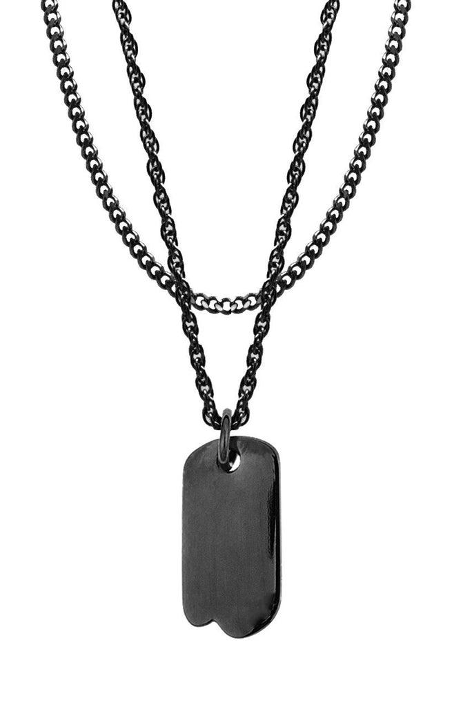 Mister  Micro Tag Necklace - Black