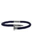 Image of Mister Nail Leather Bracelet - Dark Navy & Chrome