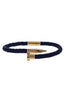 Image of Mister Nail Leather Bracelet - Dark Navy & Gold