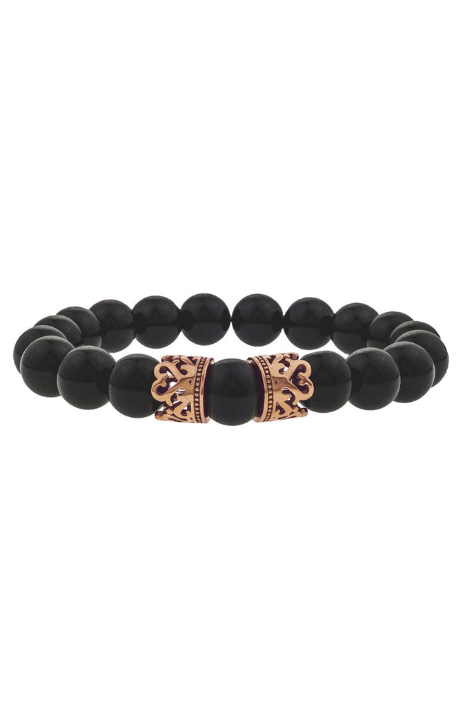 Mister Queen Bead Bracelet - Onyx & Rose Gold