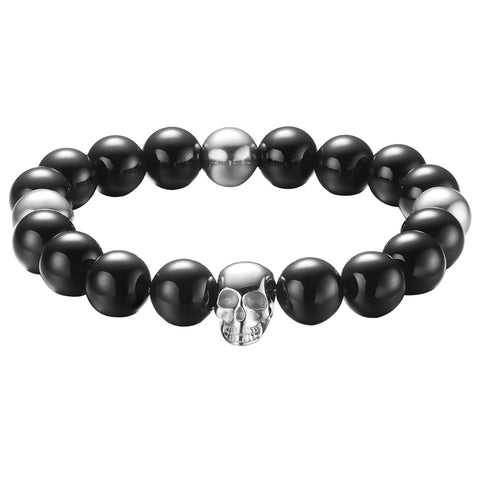 Mister Annum Plus Bead Bracelet - Onyx & Chrome