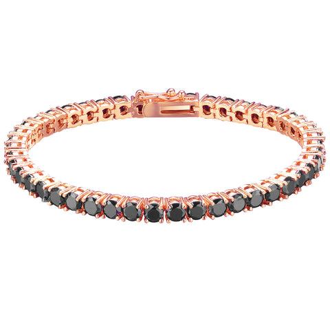 Mister  Crystal Bracelet - Rose Gold & Black (XS)