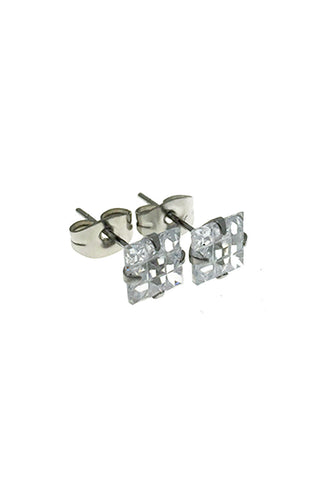 Mister Square Cut Stud Earrings - Chrome - Mister SFC