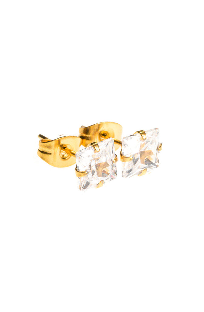 Mister Square Stud Earrings - Gold - Mister SFC