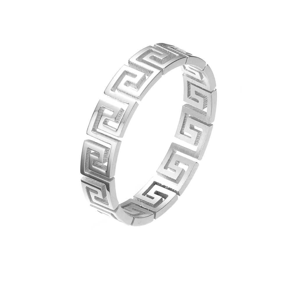 Mister Greek Cut Out Ring - Chrome