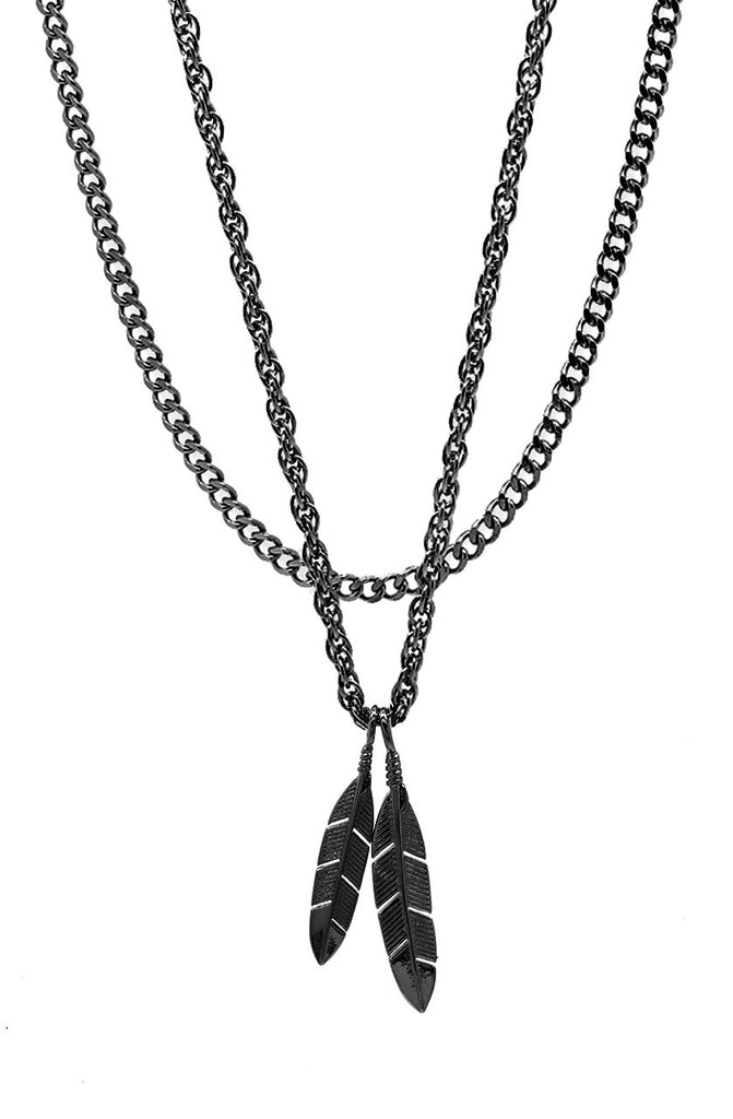 Mister  Feather Necklace - Black - Mister SFC