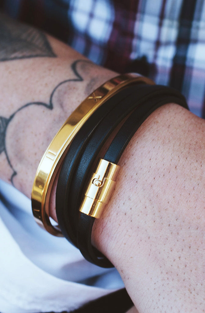 *Mister Trifecta Leather Bracelet - Black & Gold - Mister SFC - 2