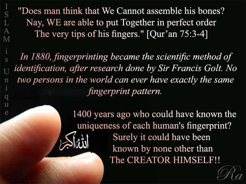 Quran hints on Uniqueness of Fingerprints