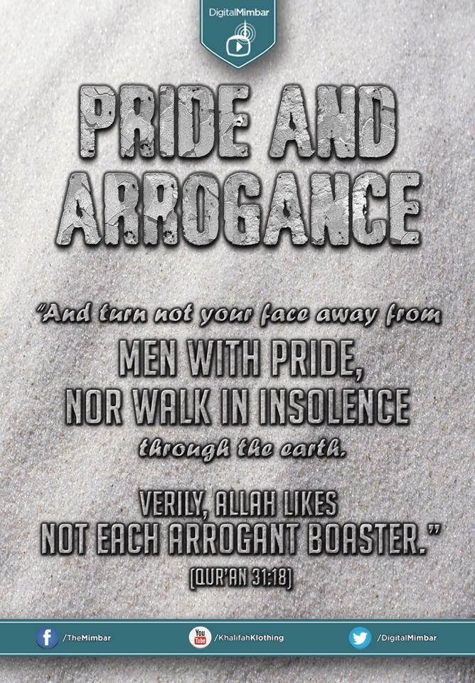 No to Boasting, Pride and Arrogance...