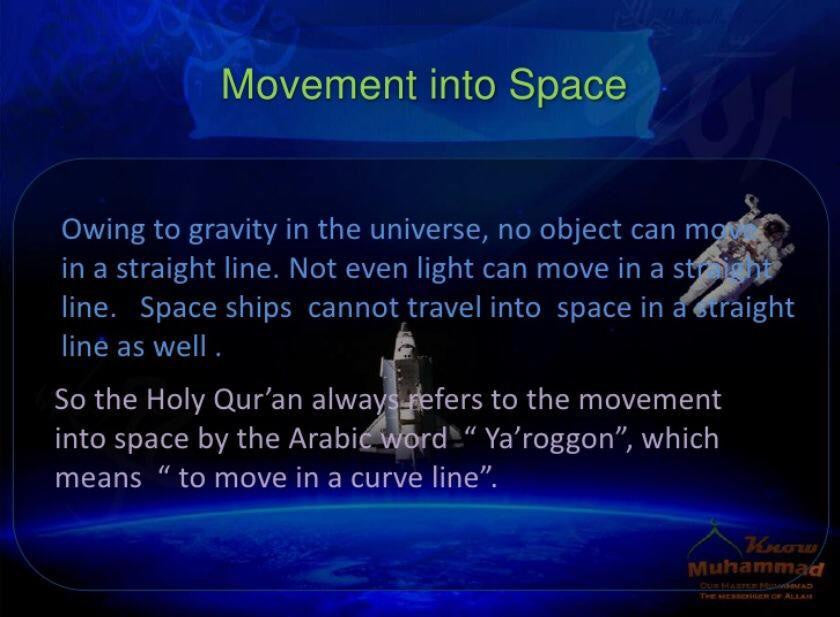 Quran explains Movement in Space