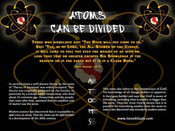 Quran says Atoms Can be Divided