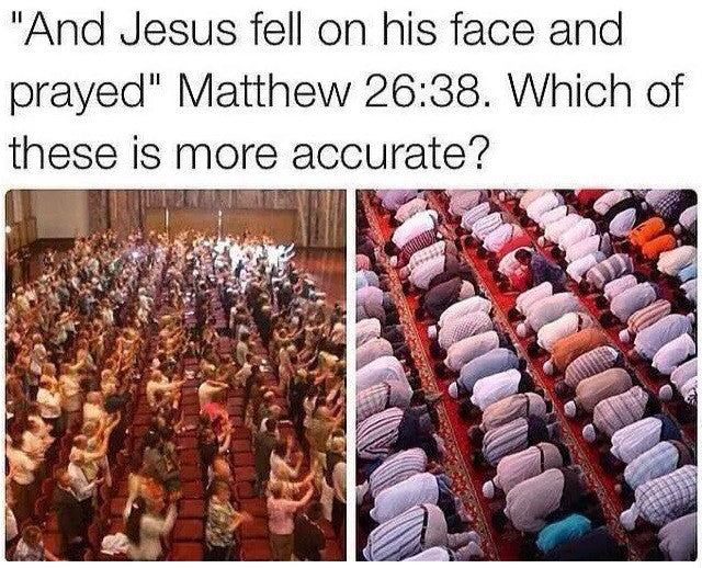 Jesus prays (prostrates) to God, as Muslims do