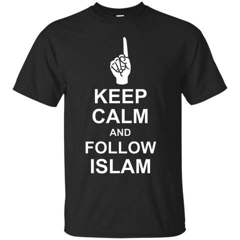 NoLogo Calm.Follow.Islam WHITE Gildan Tshirt - IslamTaught.Me - 1