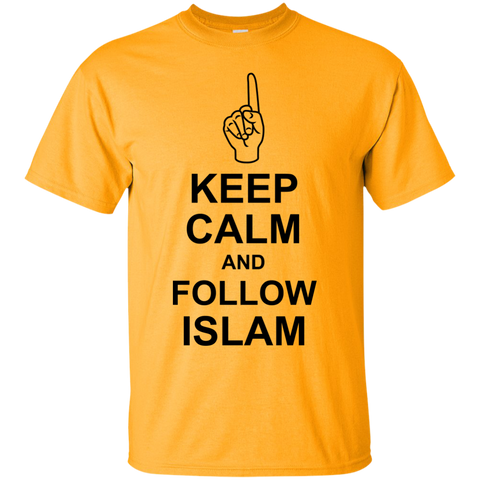 NoLogo Calm.Follow.Islam BLACK Gildan Tshirt - IslamTaught.Me - 1