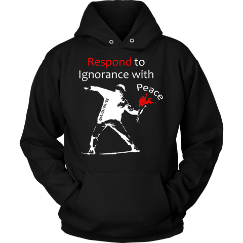 RespondWithPeace WHITE Front PortCo Hoodie