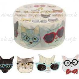 "Amifa Washi Tape Middle ""Glasses Cat"""