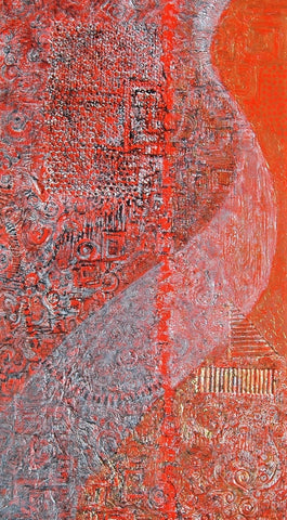 Not By Sight 4 x 2 feet acrylic and collage on canvas