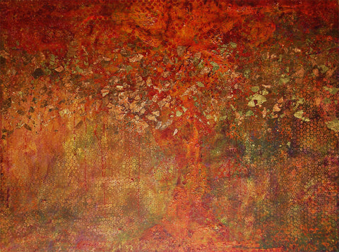 +My Favorite Tree 30 X 40 Inches - Acrylic On Board With Gold & Metal Leaf, No Frame Necessary