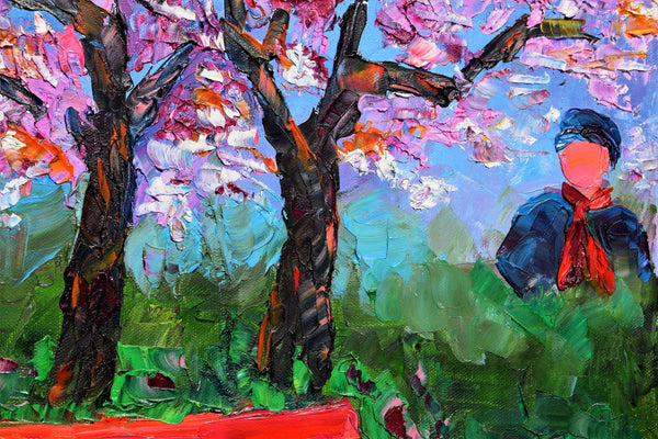 =Park Bench in Poland 20 x 16 Oil on canvas