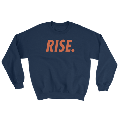 RISE. Crewneck (Navy/Orange)
