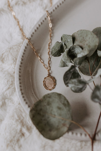 Floral Medallion Necklace - Gold Filled & Sterling Silver