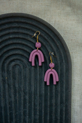 Rainbow Arch Clay Earrings