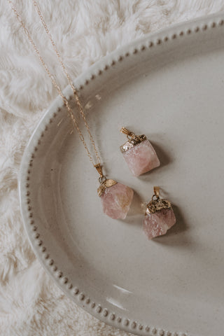 Rose Quartz Chunk Necklace