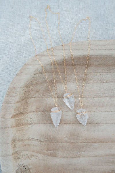 Bryce Quartz Arrow Necklace - Gold Filled