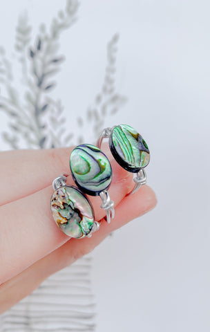 Round Abalone Shell Ring