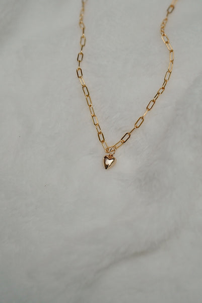 Puffy Heart Necklace - 14k Gold Fill