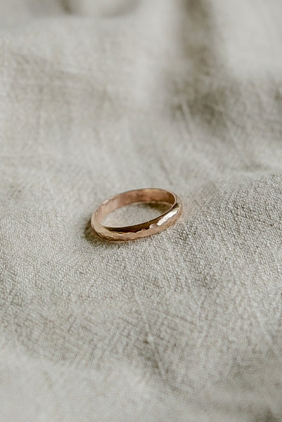 Hammered Thick Ring - 14k Gold Fill