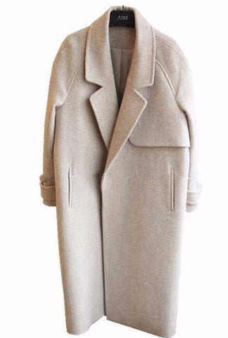 Long beige straight Fall peacoat