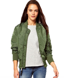 Army Green Bomber Jacket - Trendfuse