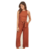 Camel backless jumpsuit - Trendfuse