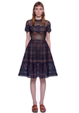 Navy Lace A line dress - Trendfuse