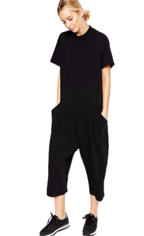Black cropped jumpsuit - Trendfuse